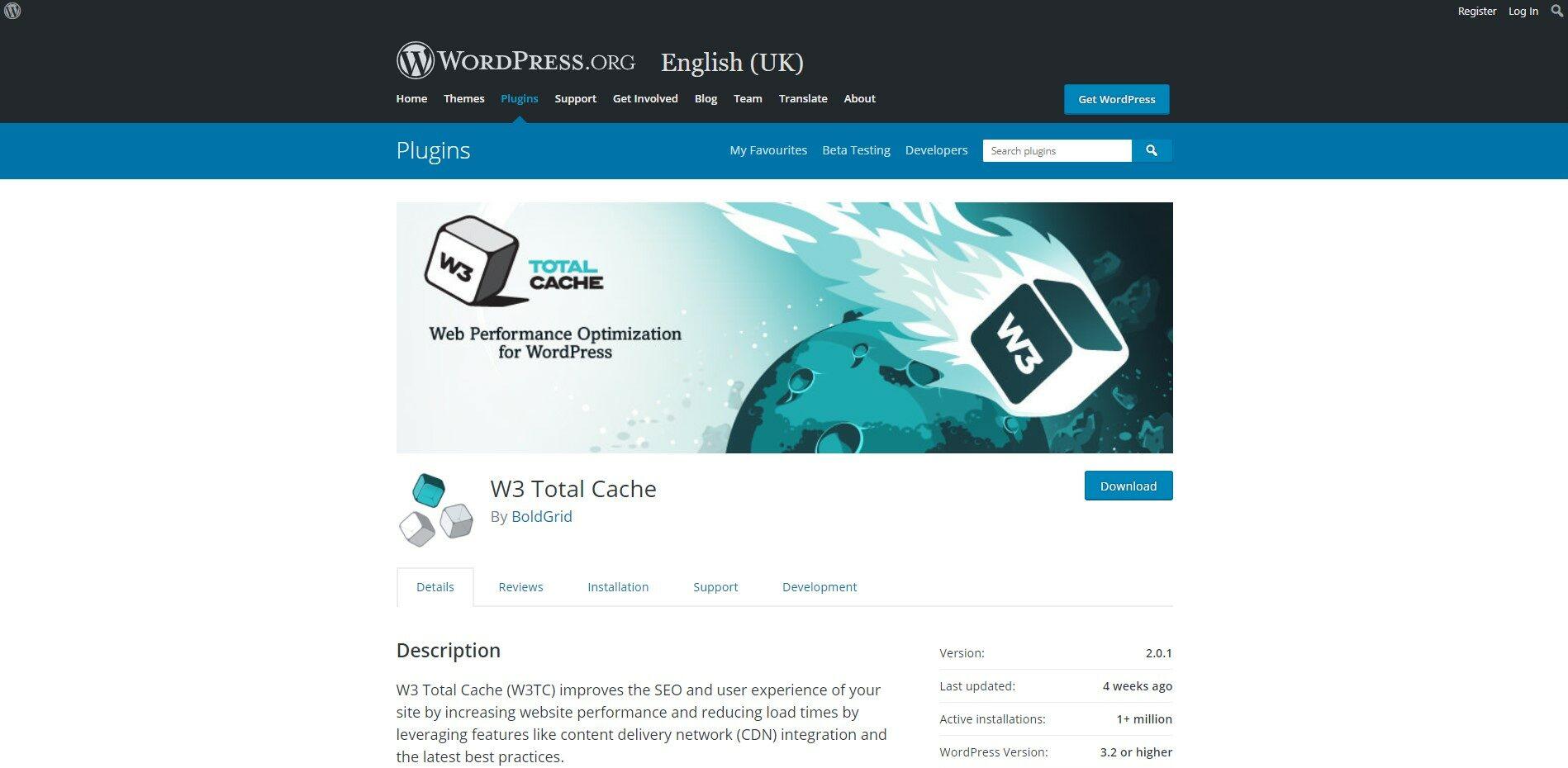 Screenshot of W3 Total Cache Plugin Page