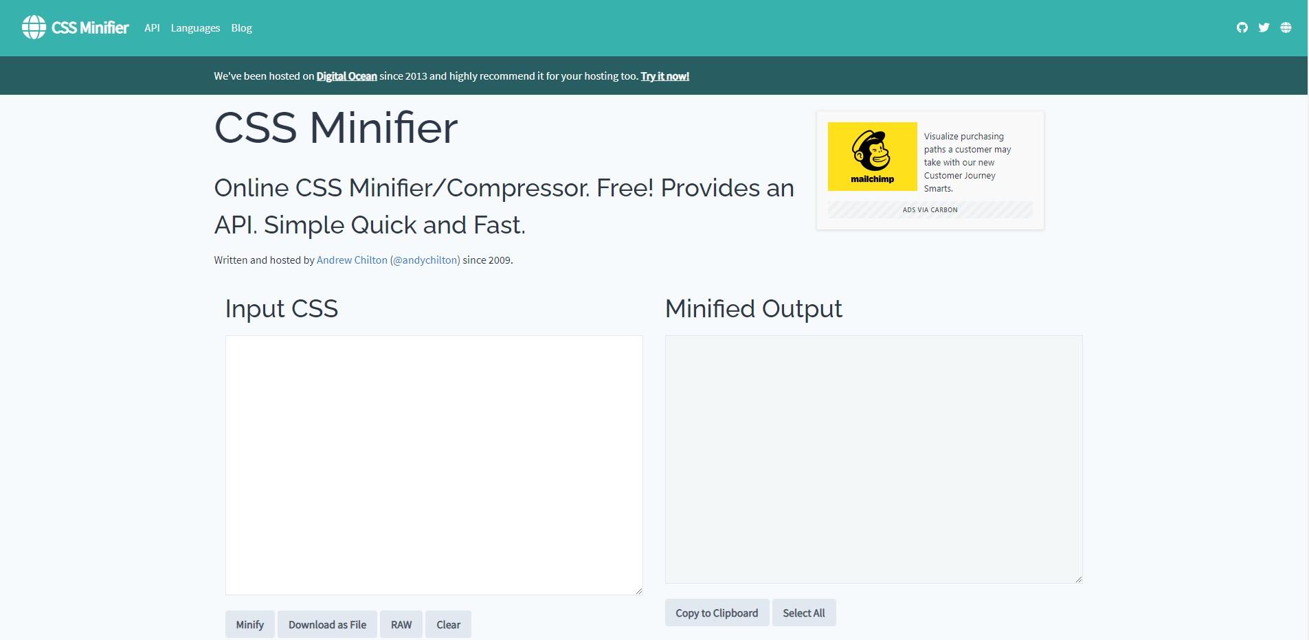 Screenshot of CSS Minifier